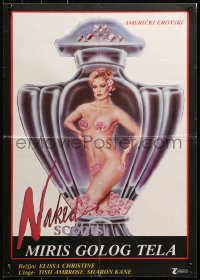 3h1063 NAKED SCENTS Yugoslavian 19x26 1985 Tish Ambrose, art of very sexy girl in perfume bottle!