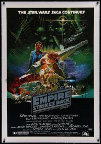 3j0031 EMPIRE STRIKES BACK linen Aust 1sh 1980 George Lucas sci-fi classic, cool Noriyoshi Ohrai art!