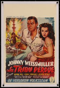 3j0011 LOST TRIBE linen Belgian 1950 Johnny Weissmuller as Jungle Jim & sexy Elena Verdugo by Wik!
