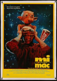3j0009 MAC & ME linen Colombian poster 1988 E.T. alien rip-off with Coca-Cola tie-in, very rare!
