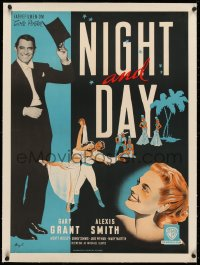 3j0014 NIGHT & DAY linen Danish 1948 Stilling art of Cary Grant as Cole Porter & Alexis Smith, rare!