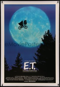 3j0255 E.T. THE EXTRA TERRESTRIAL linen 1sh 1982 Spielberg classic, iconic bike over moon!