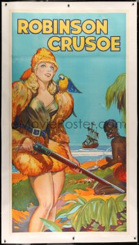 3k0135 ROBINSON CRUSOE linen stage play English 3sh 1930s sexy c/u of female hero by Friday & ship!