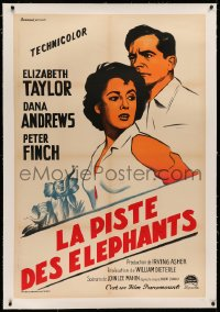 3k0125 ELEPHANT WALK linen French 32x47 R1950s different art of Elizabeth Taylor & Dana Andrews, rare!