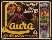 3k0025 LAURA 1/2sh 1944 great image of Dana Andrews lusting after sexy Gene Tierney, Otto Preminger