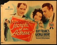 3k0034 SECRETS OF AN ACTRESS style B 1/2sh 1938 George Brent helps Kay Francis succeed on Broadway, rare!