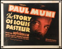 3k0038 STORY OF LOUIS PASTEUR 1/2sh 1936 incredible c/u of Paul Muni, William Dieterle, ultra rare!