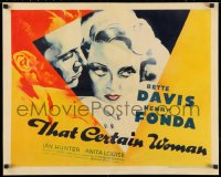 3k0040 THAT CERTAIN WOMAN style B 1/2sh 1937 art of Henry Fonda & Bette Davis with those eyes, rare!