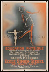 3k0162 ECOLE SIMON-SIEGEL linen 38x57 French advertising poster 1945 art of physically fit women!