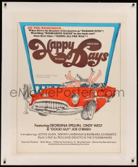 3k0155 HAPPY DAYS linen 28x36 special poster 1974 Georgina Spelvin, Cindy West, wacky drive-in sex art!