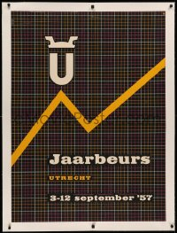 3k0142 JAARBEURS linen 31x43 Dutch special poster 1957 trade fair held in Utrecht, line graph art!