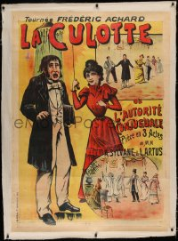 3k0190 LA CULOTTE linen 37x52 French stage poster 1900s great art of woman dousing man with water!