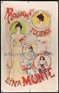 3k0191 LINA MUNTE linen 40x65 French stage poster 1898 Abeille art of her in different stage roles!