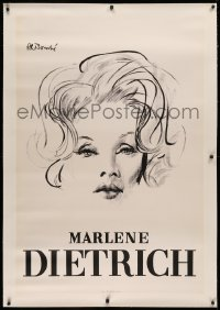 3k0186 MARLENE DIETRICH linen 32x47 French special poster 1960s Bouche art of the famous actress!
