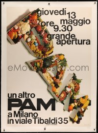 3k0150 PAM linen 39x55 Italian advertising poster 1970s cool food montage title, supermarket chain!