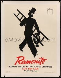 3k0140 RAMONITE linen 30x40 Belgian advertising poster 1950s Delmare art of soot-covered chimney sweep!
