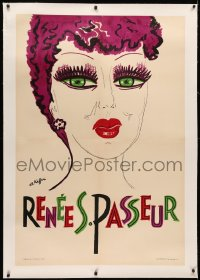3k0187 RENEE PASSEUR linen 32x47 French special poster 1950s Charles Kiffer art of the French singer!