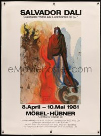 3k0145 SALVADOR DALI MOBEL-HUBNER linen 35x49 German art exhibition 1981 The Apparition of Dis!