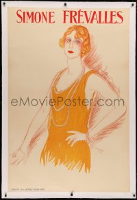 3k0194 SIMONE FREVALLES linen 33x50 French stage poster 1923 Marcel Vertes artwork of sexy actress!