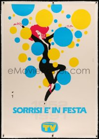 3k0151 SORRISI E' IN FESTA linen 38x55 Italian advertising poster 1991 sexy balloon art by Rene Gruau!