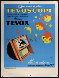 3k0172 TEVOSCOPE linen 47x63 French advertising poster 1950s Flas art of the new Marque Tevov TV!