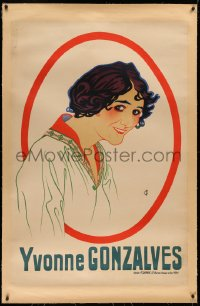 3k0195 YVONNE GONZALVES linen 32x47 French stage poster 1920s FG art of the pretty stage actress!