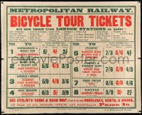 3k0154 METROPOLITAN RAILWAY linen 40x50 English travel poster 1903 get your bicycle tour tickets!