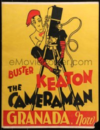 3k0004 CAMERAMAN trolley card 1928 cool different art of Buster Keaton on movie camera, ultra rare!
