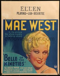 3k0005 BELLE OF THE NINETIES jumbo WC 1934 the whole country's talking about sexy Mae West, rare!