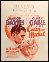 3k0006 CAIN & MABEL jumbo WC 1936 romantic c/u art of boxer Clark Gable & Marion Davies, ultra rare!