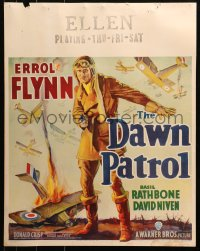 3k0008 DAWN PATROL jumbo WC 1938 different art of pilot Errol Flynn & World War I airplanes, rare!