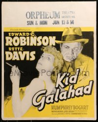 3k0009 KID GALAHAD jumbo WC 1937 art of Edward G. Robinson & sexy smoking Bette Davis, ultra rare!