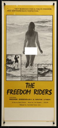 3p0014 FREEDOM RIDERS Aust daybill 1972 completely naked Aussie surfer girl, yellow border design!