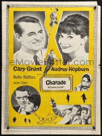 3p0006 CHARADE Canadian 1963 art of tough Cary Grant & sexy Audrey Hepburn, completely different!