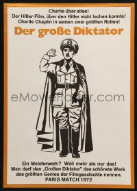 3p0021 GREAT DICTATOR German 12x19 R1972 Charlie Chaplin directs and stars, wacky WWII comedy!