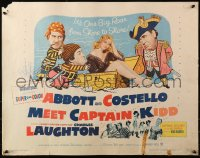 3p0765 ABBOTT & COSTELLO MEET CAPTAIN KIDD 1/2sh 1953 art of pirates Bud & Lou with Charles Laughton!