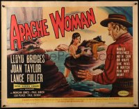 3p0770 APACHE WOMAN 1/2sh 1955 art of naked cowgirl in water pointing gun at Lloyd Bridges!