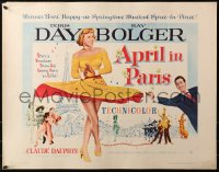 3p0772 APRIL IN PARIS 1/2sh 1953 pretty Doris Day and wacky Ray Bolger in France!