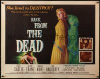 3p0777 BACK FROM THE DEAD 1/2sh 1957 Peggie Castle lived to destroy, cool sexy horror art & image!