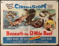 3p0788 BENEATH THE 12-MILE REEF 1/2sh 1953 cool art of scuba divers fighting octopus & shark!