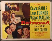 3p0789 BETRAYED style A 1/2sh 1954 Clark Gable, Victor Mature & sexy brunette Lana Turner!