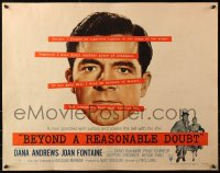 3p0790 BEYOND A REASONABLE DOUBT style B 1/2sh 1956 Fritz Lang noir, Dana Andrews close-up!
