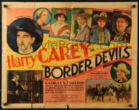 3p0799 BORDER DEVILS 1/2sh 1932 Harry Carey, Katheleen Collins, ultra-rare black title style!