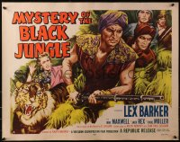 3p1009 MYSTERY OF THE BLACK JUNGLE style A 1/2sh 1955 art of Lex Barker w/rifle hunting in India!