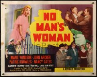 3p1018 NO MAN'S WOMAN style B 1/2sh 1955 art of gun pointing at sleazy bad girl Marie Windsor!