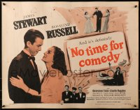 3p1019 NO TIME FOR COMEDY 1/2sh R1956 romantic close up of Jimmy Stewart & Rosalind Russell!