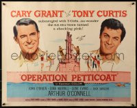 3p1027 OPERATION PETTICOAT 1/2sh 1959 great artwork of Cary Grant & Tony Curtis on pink submarine!