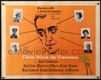 3p1028 OUR MAN IN HAVANA style A 1/2sh 1960 art of Alec Guinness, Graham Greene, directed by Carol Reed!