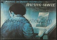 3p0034 SWIATLO ODBITE Polish 19x27 1989 cool Wieslaw Walkuski artwork of man with mirror on desk!