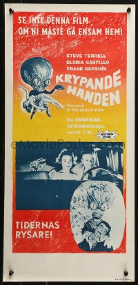 3p0012 INVASION OF THE SAUCER MEN Swedish stolpe 1961 art of cabbage head alien & sexy girl!
